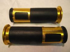 Bar grips rubber and gold alloy grip rings for 22mm 7/8 bars 380